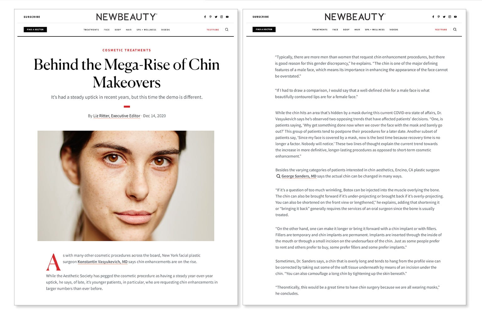 "Dr. Sanders ""Behind the Mega-Rise of Chin Makeovers"" New Beauty Article"